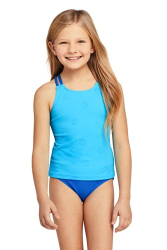 Girls Slim Magic Print Cross Back Tankini Top