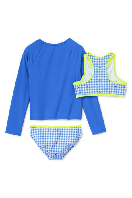 Girls Graphic Rash Guard and Print Bikini Set