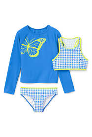 Girls Slim Graphic Rash Guard and Print Bikini Set