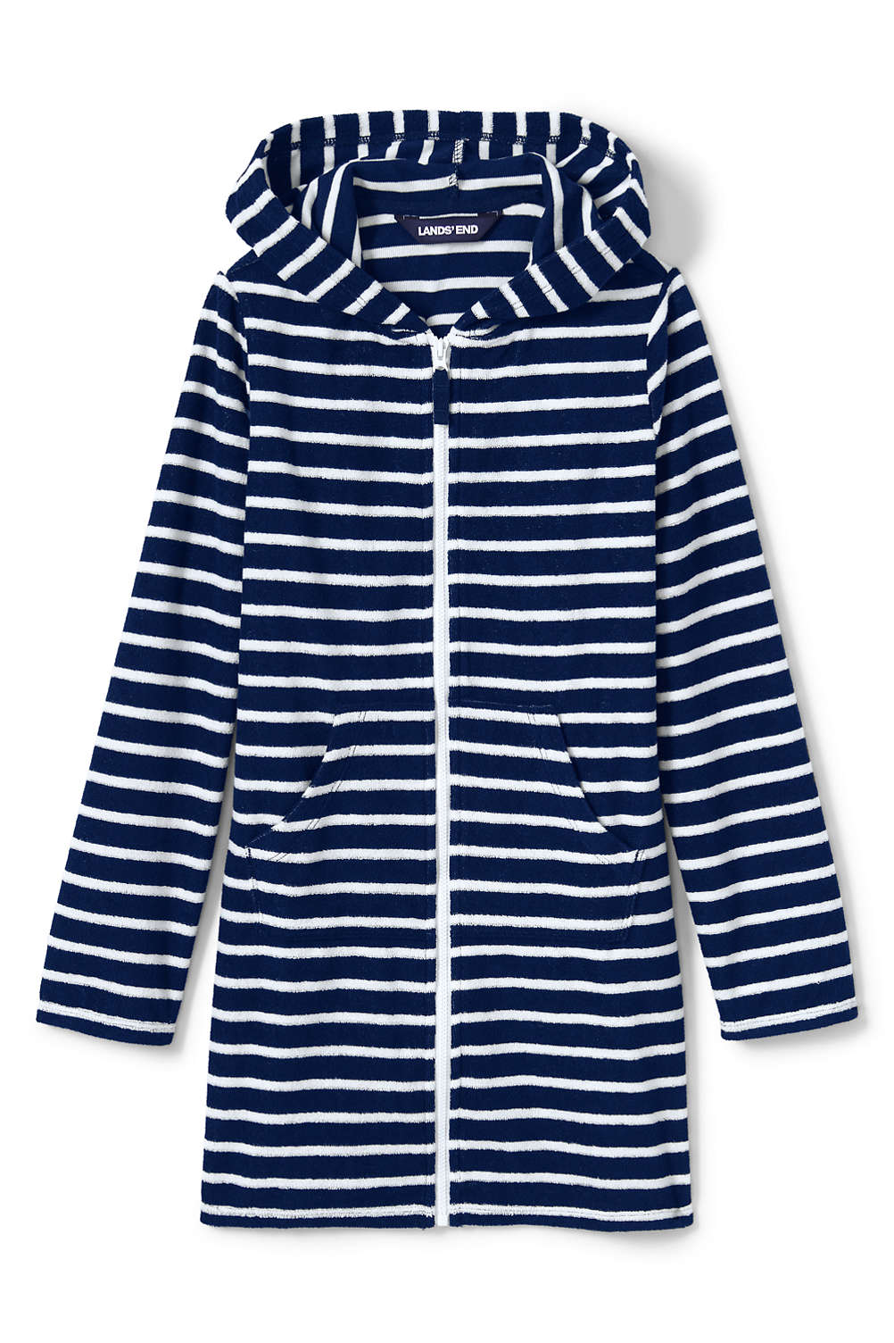 a87a40ed18ec2 Girls Stripe Kangaroo Pocket Swim Cover-Up from Lands' End