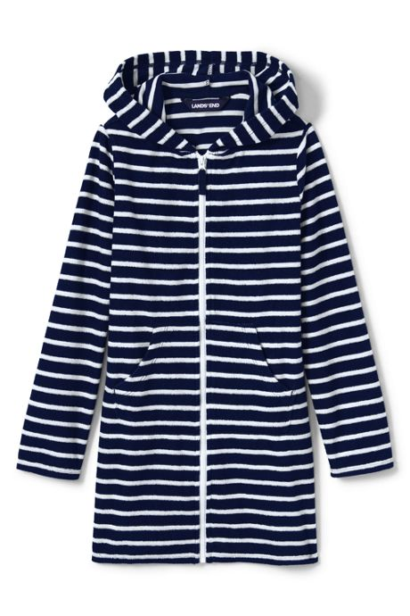 Girls Stripe Kangaroo Pocket Swim Cover-Up