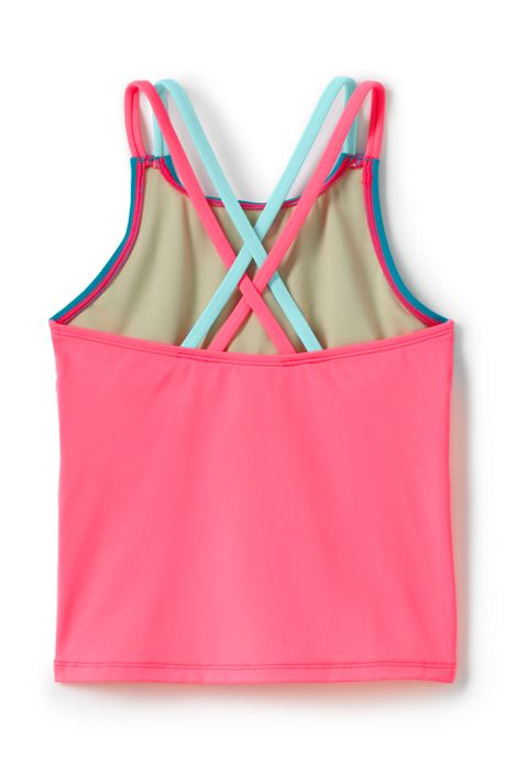 Girls Slim Cross Back Colorblock Tankini Top