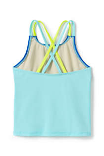 Little Girls Cross Back Colorblock Tankini Top, Back