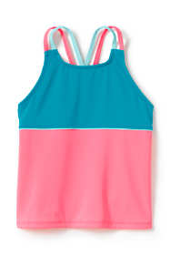Little Girls Cross Back Colorblock Tankini Top