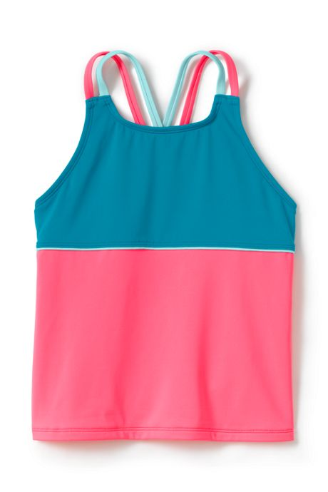 Girls Cross Back Colorblock Tankini Top