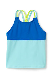 Girls' Mix & Match Cross-back Colourblock Tankini