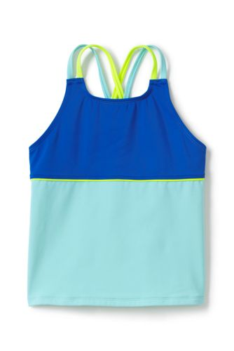 Little Girls' Mix & Match Cross-back Colourblock Tankini