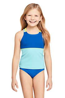 Little Girls Cross Back Colorblock Tankini Top, Front