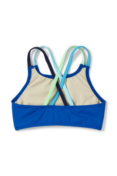 Girls Solid Cross Back Bikini Top