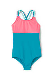 Little Girls Cross Back Colorblock One Piece Swimsuit