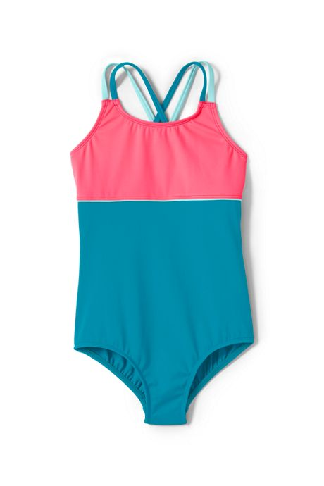 Girls Plus Cross Back Colorblock One Piece Swimsuit