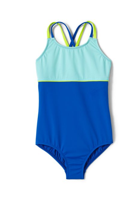 Girls Cross Back Colorblock One Piece Swimsuit