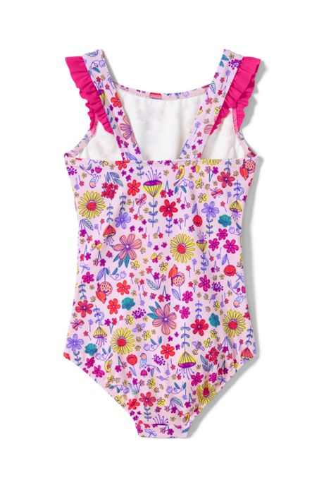 Girls Slim Ruffle Shoulder One Piece Swimsuit
