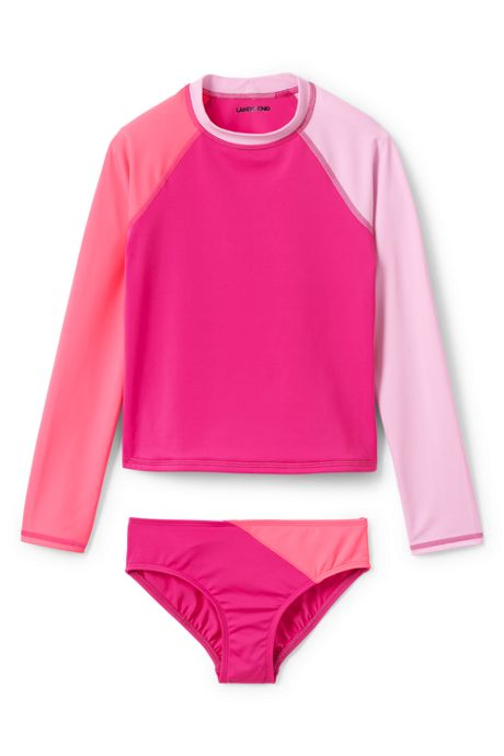 Girls Colorblock Rash Guard Set