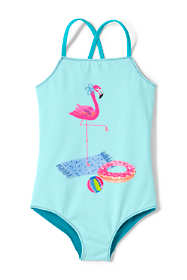 Girls Slim Reversible Graphic One Piece Swimsuit