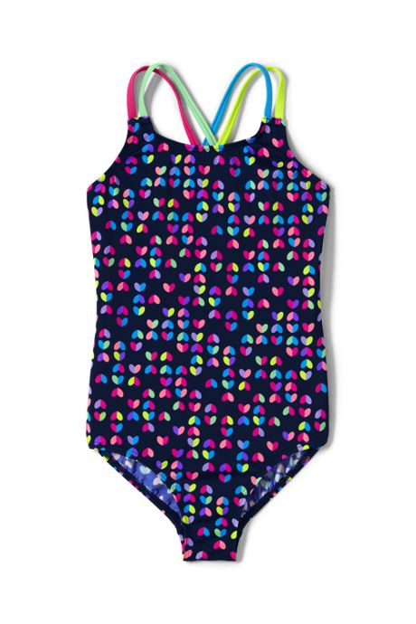 Girls Slim Cross Back One Piece Swimsuit