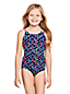 Girls' Cross-back Patterned Swimsuit