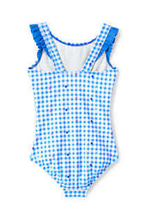 Girls Graphic Ruffle Shoulder One Piece Swimsuit, Back