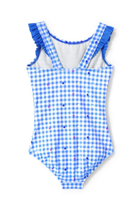 Little Girls Graphic Ruffle Shoulder One Piece Swimsuit