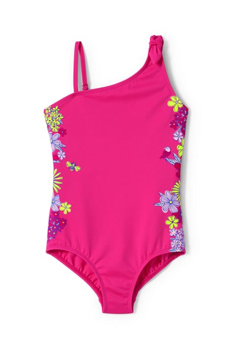 Girls Slim Tie Shoulder Graphic One Piece Swimsuit