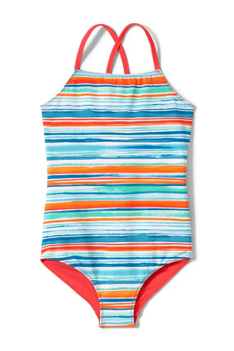 Girls Slim Reversible Print One Piece Swimsuit