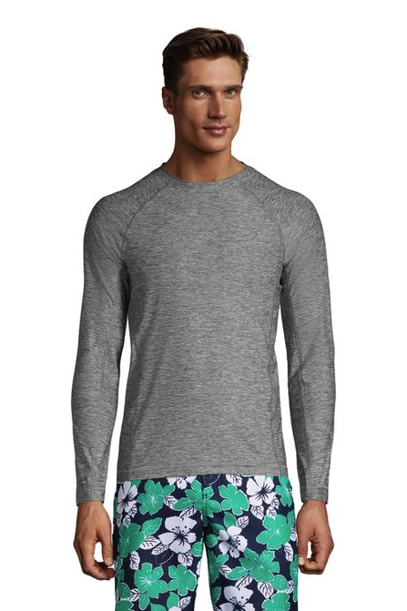 Men's Big and Tall Long Sleeve Space Dye Swim Tee Rash Guard