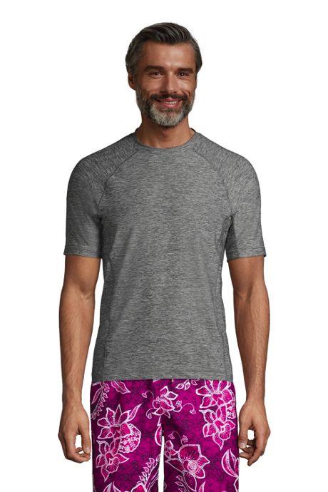 Men's Big and Tall Spacedye Short Sleeve Swim Tee Rash Guard