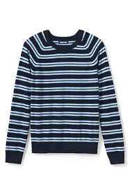 Men's Stripe Cotton Cashmere Crewneck Sweater