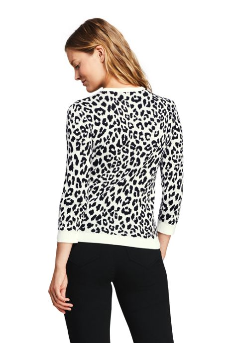Women's Tall 3/4 Sleeve Print Supima Cotton Sweater