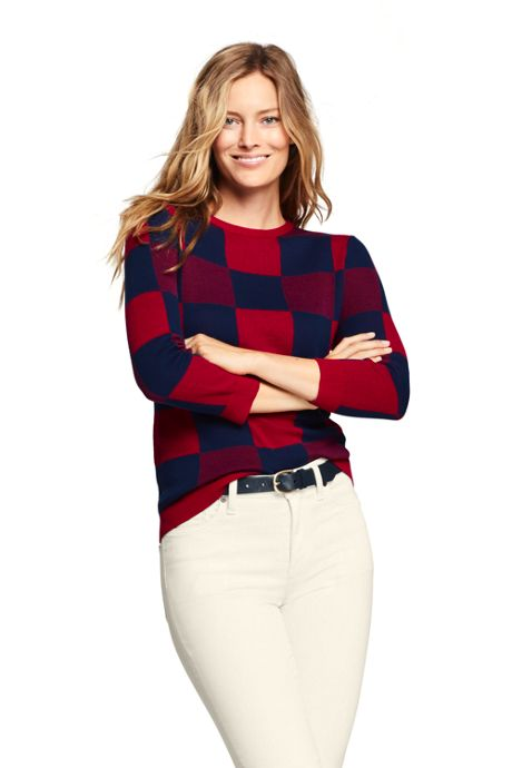 Women's 3/4 Sleeve Print Supima Cotton Sweater