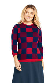 Women's Plus Size 3/4 Sleeve Print Supima Cotton Sweater