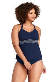 Women's Plus Size Smocked V-neck Tankini Top Swimsuit