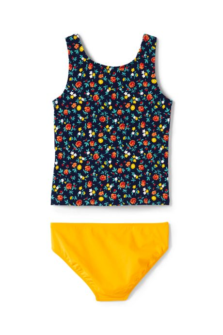 Girls Print Tie Front Tankini Set