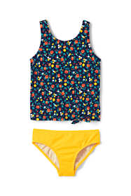 Girls Slim Print Tie Front Tankini Set