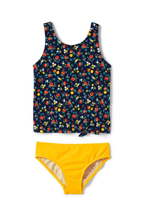 Little Girls Print Tie Front Tankini Set