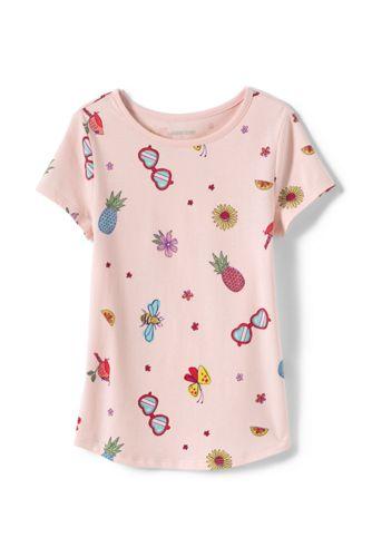Girls' Short Sleeve Print Cotton T-shirt