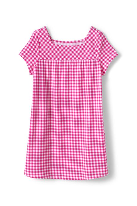 Little Girls Pattern Gathered Yoke Tunic Top