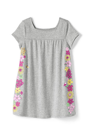 54efb4e06 Girls' Short Sleeve Flower Graphic Tunic Top | Lands' End