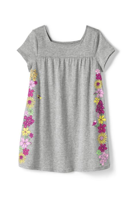 Little Girls Graphic Gathered Yoke Tunic Top