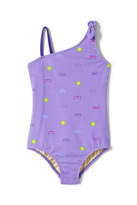 Little Girls Tie Shoulder One Piece Swimsuit