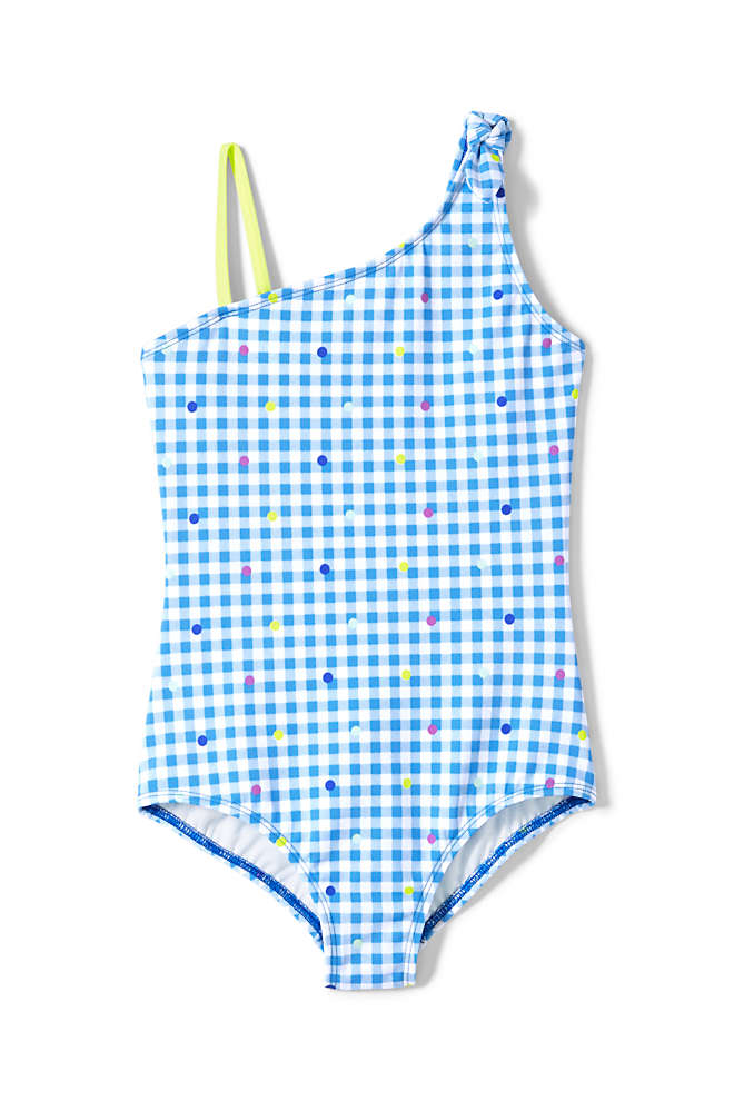 Girls Slim Tie Shoulder One Piece Swimsuit, Front