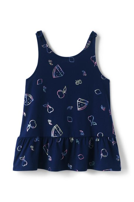 Girls Plus Tie Shoulder Pattern Tank Top