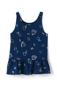 Little Girls Tie Shoulder Pattern Tank Top