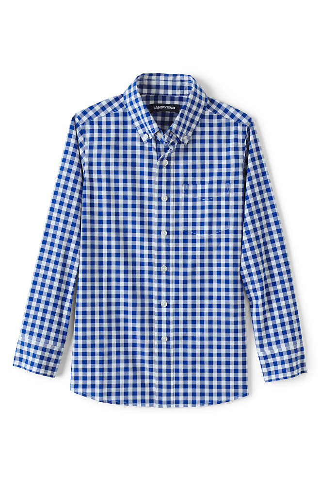 Boys Husky Button Down Poplin Shirt, Front