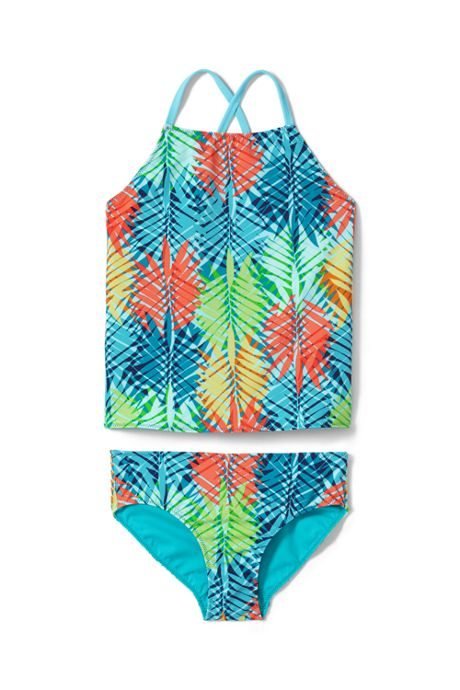 Girls Slim Reversible Print Tankini Set