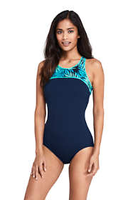 Women's Chlorine Resistant High-neck One Piece Swimsuit Print