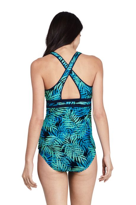 Women's Chlorine Resistant V-neck Tankini Top Swimsuit Print
