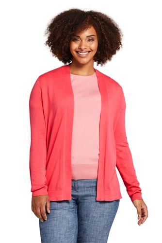 Womens Plus Size Long Sleeve Supima Open Cardigan Sweater From