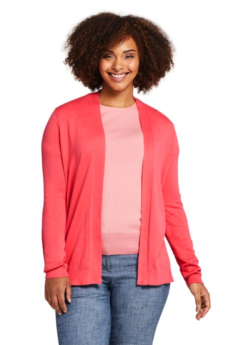 Women's Plus Size Long Sleeve Supima Open Cardigan Sweater