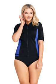 Women's Plus Size Half Sleeve Full Zip Rash Guard